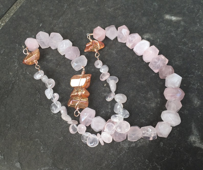 Rose Quartz Nuggets and Mystic Orange Crystal Points  Color block Statement Necklace  Mystic Boho Jewelry  orig 144 dollars now 114 sale