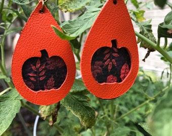 Pumpkin Orange Window Layered Teardrop Leather Earrings  Pumpkin Earrings  Autumn Harvest Earrings   orange teardrops Halloween VowanGems