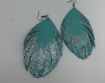 Hand Painted Silver and Sky Blue on Light Turquoise Leather Fringe Teardrop Earrings  Boho  Southwestern Jewelry  Fringed Statement Earrings