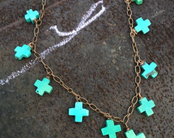 Turquoise crosses  antiqued copper chain necklace  Christian southwestern  Cowgirl Chic Turquoise and Leather  Copper Necklace  VowanGems