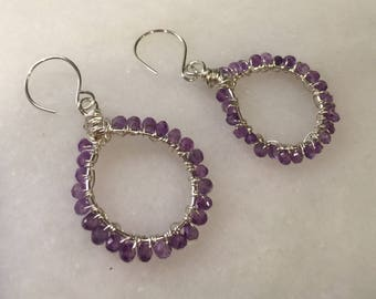 Amethyst  and Sterling Silver Hoops  Hand forged Wire Wrapped Hoop Earrings    Genuine Amethyst   Valentine's Gift