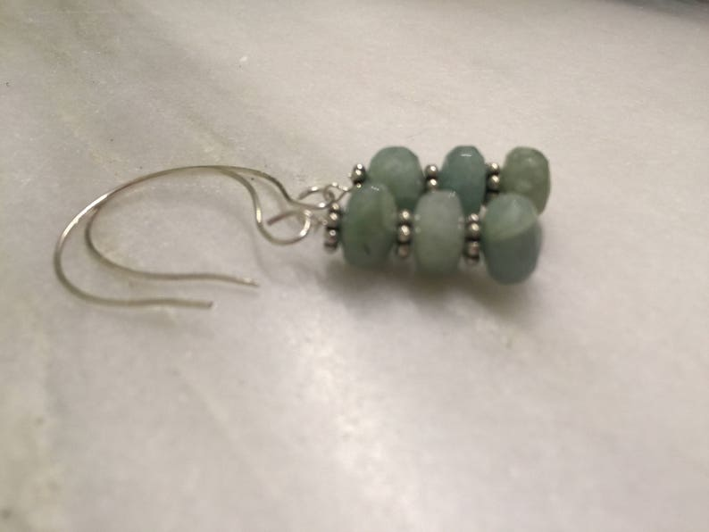 Faceted Aquamarine Rondelle Drop Dangles   Aquamarine Earrings   Something Blue Wedding Jewelry  Bridesmaid gift