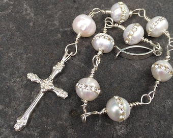 Anglican Chaplet  Episcopal Prayer Beads  Cream Pearls Inlaid with Crystals Sterling Silver Pocket Chaplet  Mediation  Wedding Chaplet