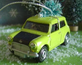 1964 Austin Mini Cooper car with Christmas tree ornament