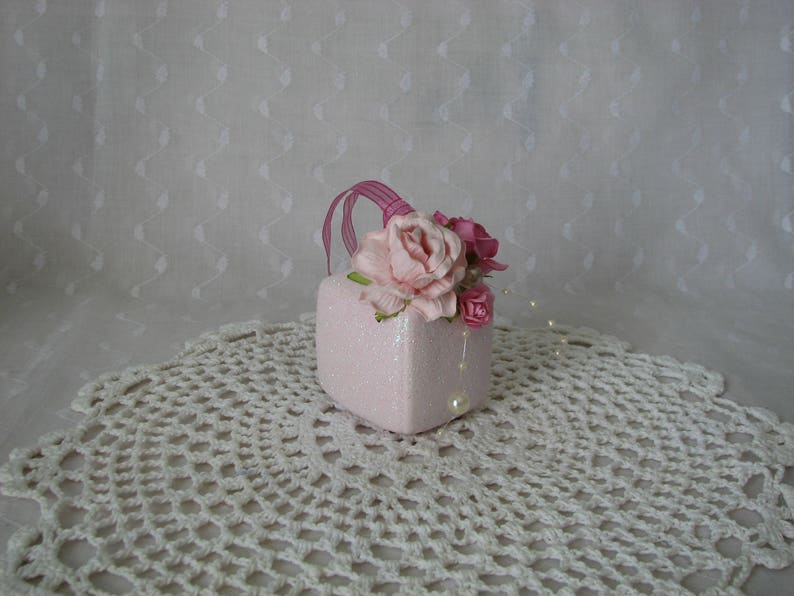 Cube Glass Gift Box Ornament Hand Painted Pink Roses Glitter Pearls