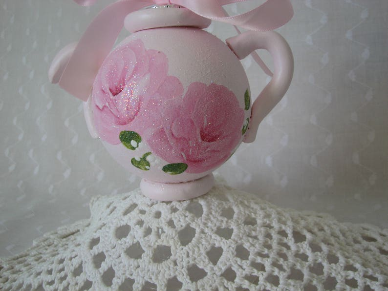 Teapot Ornament Hand Painted Chic Pink Roses Glitter Shabby Christmas