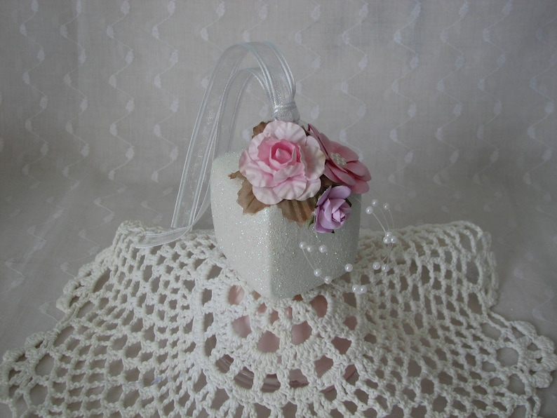 Square Glass Aqua Gift Box Ornament Hand Painted Pink White Roses Glitter Pearls