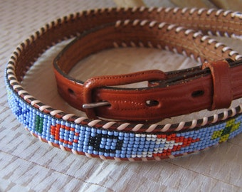 443a12e96 Vintage Cowhide Beaded Belt