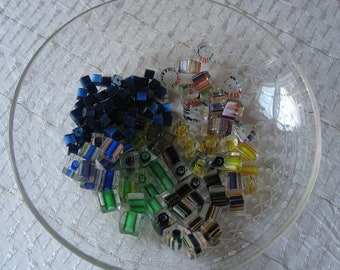 Destash Lot of Square Glass Beads Assorted Colors and Sizes