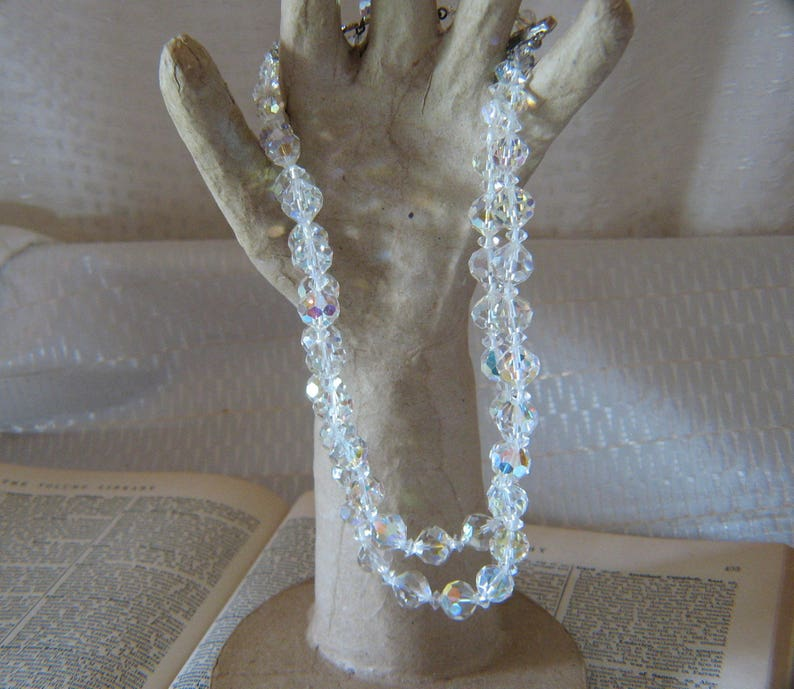 Vintage 2 Strand Crystal Beaded Necklace with Rhinestone Clasp