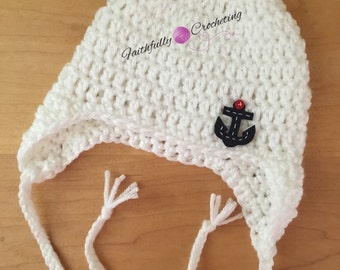 Newborn baby earflaps hat.., anchor hat.. Photography prop... Ready to ship