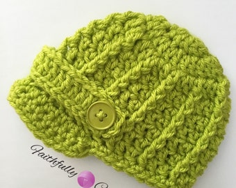 Newborn brim hat.. Newsboy hat... Lime green.. Photo prop.. Ready to ship