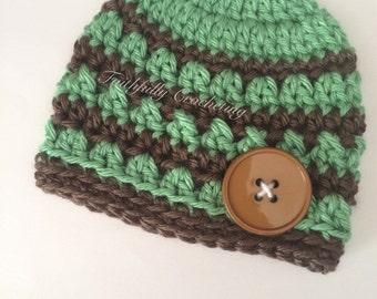 Newborn boy beanie.. Newborn boy hat.. Dark sage and brown hat.. Photography prop.. Ready to ship