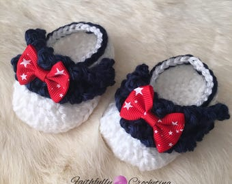 Newborn girl booties.. july 4th.. dress shoes.. crocheted shoes... ready to ship.. red white and blue