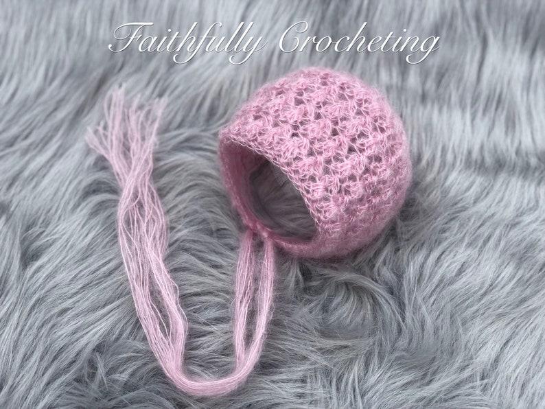 ready to ship pink lace bonnet Newborn bonnet.. photography prop mohair bonnet newborn photo prop