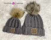 Mommy and me hats, baby shower gift, coming home hat, new mom gift, pom pom beanie, adult beanie, baby beanie, gray hat