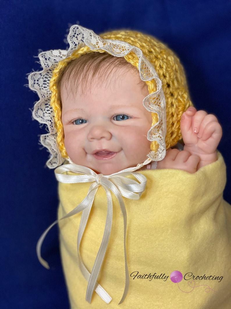 vintage lace style bonnet baby shower gift newborn girl bonnet yellow lace bonnet photography prop Newborn bonnet