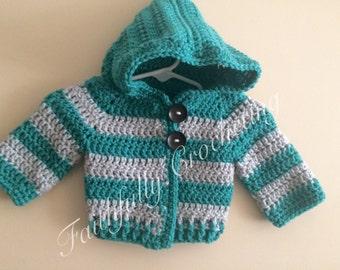 Newborn hoodie with matching beanie... Ready to ship... Newborn boy sweater.. Newborn coat