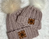 Mama bear and baby bear beanie, mommy and me hats, 0 3 months hat, coming home hats, new mom gift, ready to ship