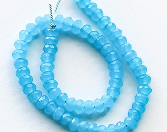 "Aqua Glass Beads, faceted rondelle, 5.5mm, 9.5"" strand"