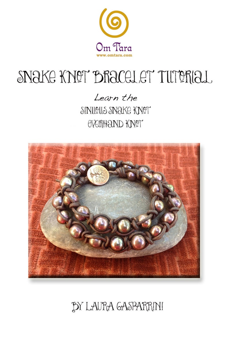 Snake Knot Wrap Bracelet Tutorial, How to make Snake Knot leather and pearl  bracelet, make macrame leather jewelry, leather jewelry tutorial