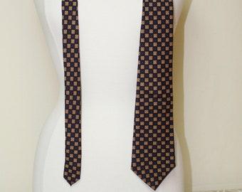 0218a305cb83 London, England Turnbull & Asser 1980s Men's Necktie, Hand Sewn Necktie,  Navy Blue Foulard Mens Tie, Vintage 1980s Men's Tie