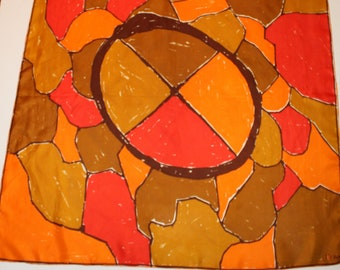 1960s Vera Abstract Circle Color Blocked Scarf, Vera Silk Scarf, Vera Neumann Square Scarf, Vera Orange and Red Print Scarf