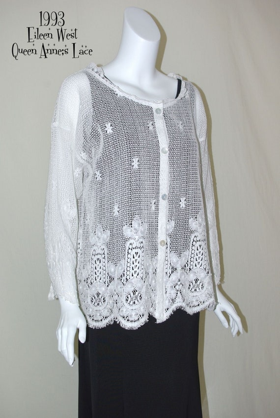 Eileen West White Lace Top, Lace Button Front Blou