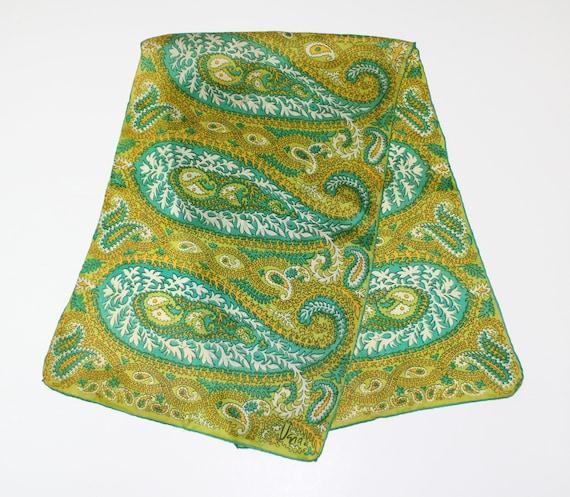 1960s Vera Paisley Shades of Green Scarf, Vera Rec