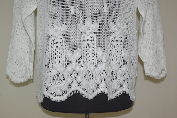 Eileen West White Lace Top, Lace Button Front Blo… - image 5