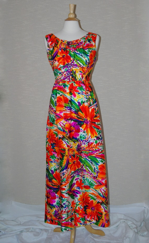 1960s Liberty House Maxi Dress, Tropical Print Dre