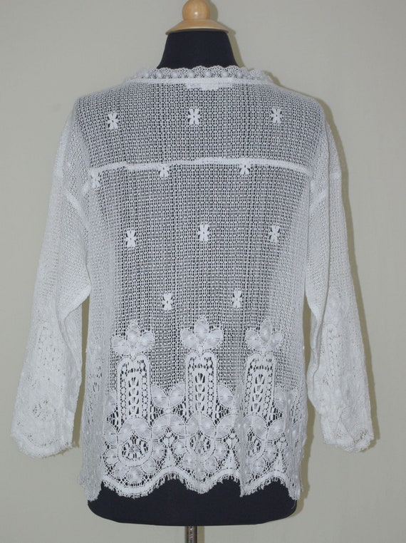 Eileen West White Lace Top, Lace Button Front Blo… - image 3