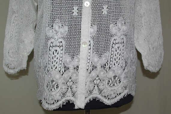 Eileen West White Lace Top, Lace Button Front Blo… - image 4