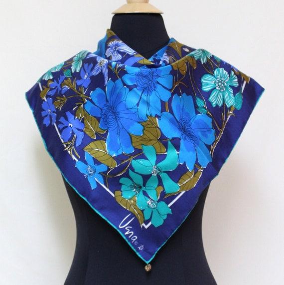 1970s Vera Blue Floral Gold Piece Scarf, Vera Larg