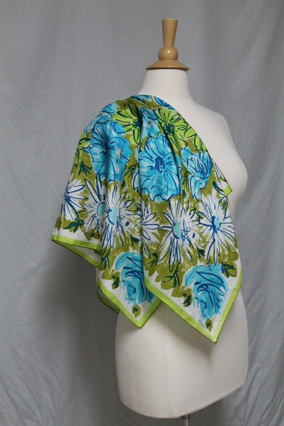 1960s Vera Floral Silk Scarf, Blue and Green Flora