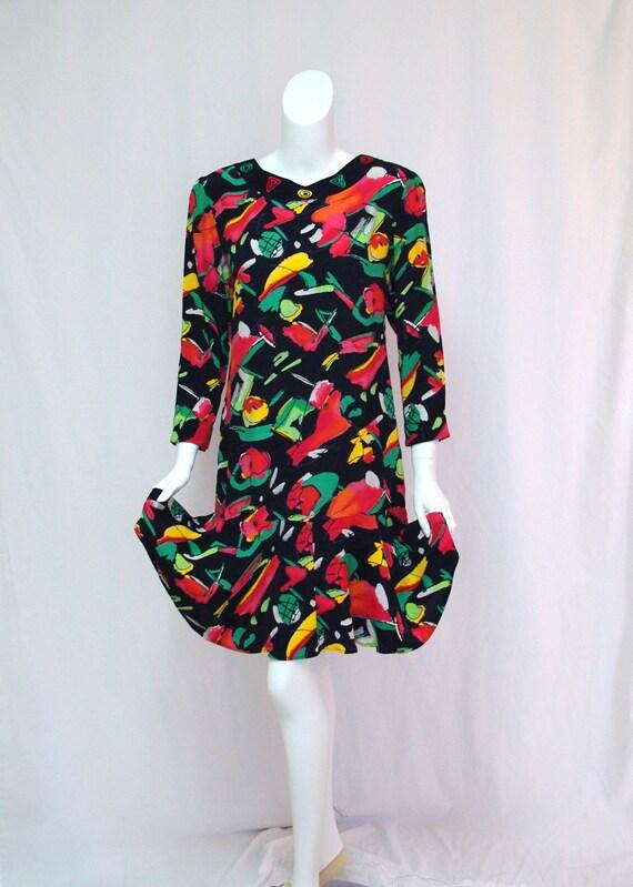 1980s Carole Little Floral Dress, Carole Little Ab