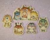 Monster Embellishment Buttons set of 5