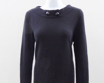100% Cashmere Sweater Dress Size M Black Boat Neck Bloomingdales Tunic Bodcon