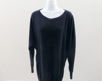 100% Cashmere Sweater Size L Black Scoop Neck Theory Batwing 50 Chest Tunic