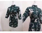 Vintage Cheongsam Dress Size M Green White Crane Bird Chinese Wiggle Cotton Vtg