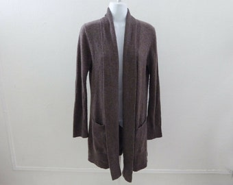 354e0b2d1 100% Cashmere Sweater Size M Taupe Brown Open Cardigan Cynthia Rowley Jumper
