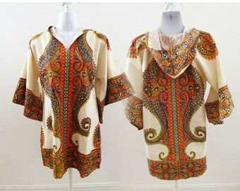 d297ce4e5a8 Vintage Dashiki Hoodie Tunic Top Size M Cotton Angel Sleeve India Deadstock  P3