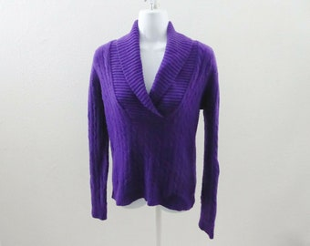 0f9d8380 100% Cashmere Sweater Size S Purple Shawl Neck Cable Knit Womens Ralph  Lauren