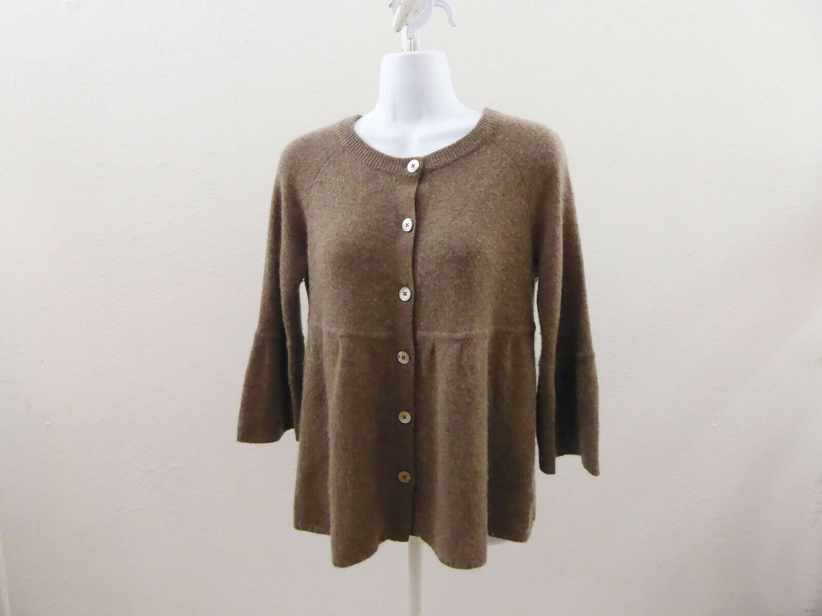 100% Cashmere Sweater Size M Brown Peplum Cardigan Womens Potion 36 Chest
