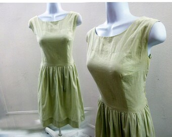 Vintage 50s Dress Size M L Sage Green Gingham Check Cotton Rockabilly Vtg Frock