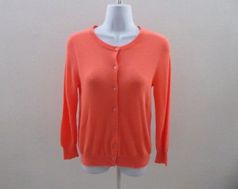 100% Cashmere Sweater Size S Electric Orange Cardigan Womens J Crew Jumper