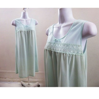 50s Vintage Nightie Size S Baby Blue Lace Nylon Nightgown Negligee Vtg 60s