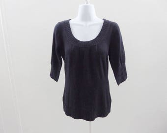 100% Cashmere Sweater Size XS Black Scoop Neck Tunic Mid Short Sleeves Top