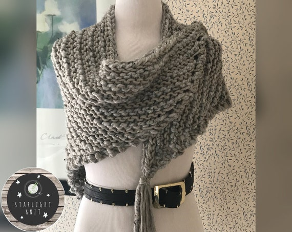 Outlander Inspired Hand Knit Soft Gray Shawl Wrap FREE SHIPPING