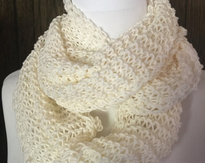 Featured listing image: Outlander Inspired Hand Knit Merino Wool Lightweight Infinity Scarf Cream FREE SHIPPING